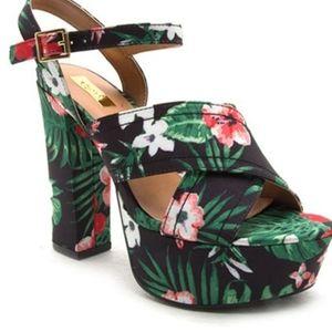 Black and green floral crush platform sandals